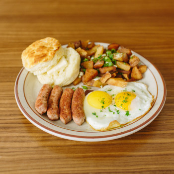 Fat's Breakfast $12  2 Free Range Eggs, 2 Sausage Links or 4 Slices of Bacon, Breakfast Potatoes or Grits & a Waffle or Biscuit