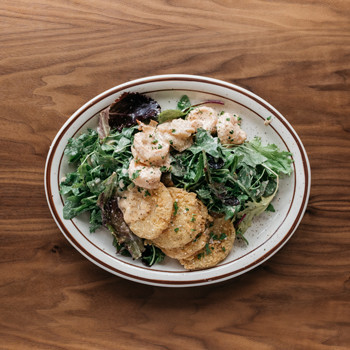 Fried Green Tomato & Shrimp Remoulade Salad $12 Mixed Greens, Remoulade Vinaigrette