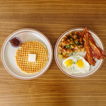 Fat's Breakfast $10  2 Free Range Eggs, 2 Sausage Links or 4 Slices of Bacon, Breakfast Potatoes or Grits & a Waffle or Biscuit